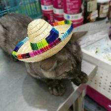 Puppy Cat Mini Pet Dogs Sombrero Sun Hat Beach Party Straw Caps Mexican  LG