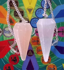 2 CARVED Large ORANGE AND WHITE SELENITE CRYSTAL DOWSING PENDULUM With Pouch