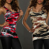 Fashion Womens Summer Vest Top Sleeveless Blouse Casual Tank Tops T-Shirt Camo