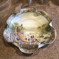 Antique Nippon Art Nouveau Purple Iris Pattern Gilt Serving Dish