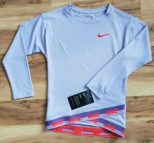 Nike Girls 6 Dry Fit Lavender Long Sleeve Shirt With Elastic Band  $34.00