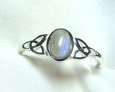 "Labradorit Ring 925 Sterling Silber ""keltischer Knoten"" Feen Elfenring - neu -"