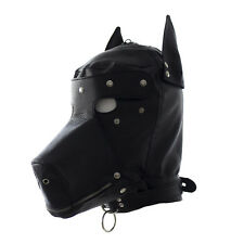 Leather Dog Gimp Hood Full Face Mask Open Mouth Blindfold Black Role Play Fetish