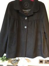 Zara Womens Black 100% Wool Waist Length Swing Coat Size 10