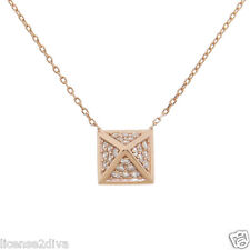 14K ROSE GOLD OVER SOLID STERLING SILVER DIAMOND SIMULANT EGYPTIAN PYRAMID