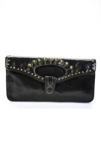 Hobo International Womens Small Leather Studded Clutch Handbag Black