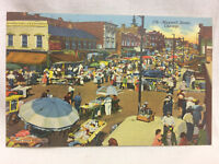 Vtg Chicago Illinois Maxwell Street Scene Postcard Unused Ghetto Market Russian