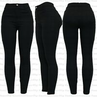 New Ladies Women Diamante Black Stretchy Pull On Jeggings Legging Size 8-20