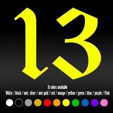 "4"" Number 13 Die Cut Bumper Car Window Vinyl Decal sticker"