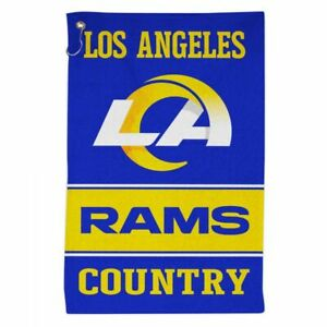 """LOS ANGELES RAMS ALL-PURPOSE GOLF TAILGATE TOWEL 16""""X25"""" WITH HOOK AND GROMMET"""