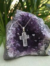 Clear Quartz Cross Pendant Clear Quartz Gemstone Cross Protection Heal. No Chain
