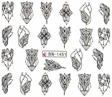 Nail Art Stickers Transfers Decals Black Abstract Shape Designs (BN1451)