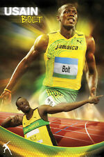 Usain Bolt LIGHTNING Jamaican Olympic Sprinter Running Action Poster