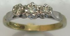 Vintage 18ct Yellow Gold Platinum Diamond 3 Stone Ring Size J 1/2