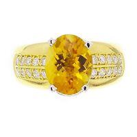 18k Yellow Gold 3.29ctw Oval Citrine & Diamond Ring Size 6