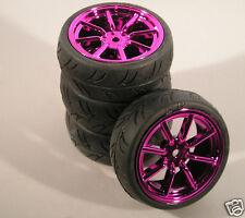 DYNH1524 RC Car Wheels & Tyres 1:10 12mm Hex Purple Chrome 8 Spoke Tamiya HPI
