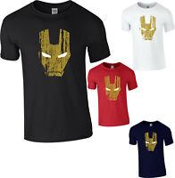 Iron Man face logo T-Shirt,Avengers Superhero Marvel Comics Adult & Kids Top