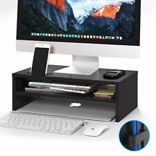 Wood Monitor Stand Speaker TV Laptop Computer Screen Riser 42cmWidth Shelf Black