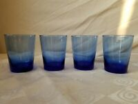 Libbey Glass Blue Old Fashioned Glasses Rocks Tumblers EUC Set of 4