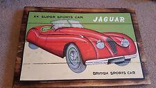 Automobile Plaque. Jaguar XK120. Handpainted on wood. Stunning