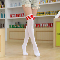 Chaussettes hautes montantes blanches bandes horizontales rouges sporty sexy
