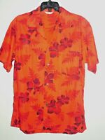 Made in Hawaii Brand Men's Shirt Red Flowers Floral Size Medium Short Sleeve