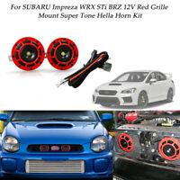 12V Red Super Loud Grille Mount Horn&Harness Kit For SUBARU Impreza WRX STi BRZ