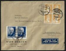 TURKEY 1947 US POST WAR AIR MAIL COVER TO WASHINGTON DC