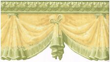 DIE CUT VICTORIAN CURTAINS HANGING FROM CEILING GREEN TRIM Wallpaper bordeR