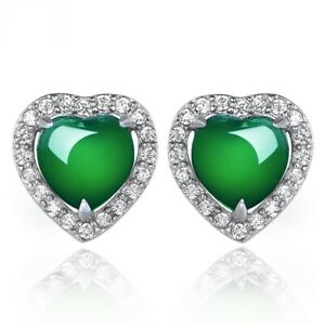 UK Hot Selling Large Crystal Heart Earring Stud Full Pave Setting piercing