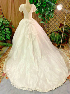 SHORT SLEEVE  FLORAL WHITE TULLE  WEDDING DRESS BRIDAL GOWN VEIL SIZE SMALL