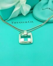 """Tiffany & Co Silver Pierced Stencil Cross Pendant Charm Necklace 32"""" RARE"""