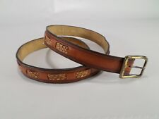 Levis Leather Belt Braided Inlay Strauss & Co Distressed Brown 38 Vtg