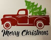 Merry Christmas Vintage Red Truck DIY Vinyl Decal Sticker