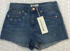 H&M COACHELLA Star Embroidery Cut Off Denim Short Shorts Size 8 Blue NWT New