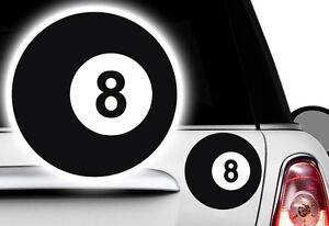 2x Billard Kugel, 10x10cm Ball Pool Lucky 8 Billardkugel Aufkleber EIGHTBALL V8