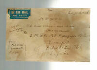 1946 Rangoon Burma registered Cover to Konapet India