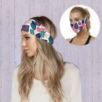 AU_ Women Maple Wide Band Elastic Silk Headband Hairband Workout Headwrap
