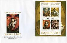 Cook ISLANDS 2017 FDC PASQUA ARTE DIPINTI Tintoretto 4 V M/S COPERCHIO FRANCOBOLLI