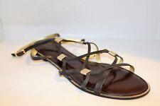 Diane von Furstenburg Brand Black Silver Leather Sandals Size 11 LIKE NEW