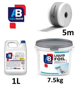 7.5m² Aqua Build LIQUID FOIL Seal Shower Wet Room System Waterproof Tanking Kit