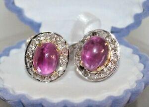 1.30c ROSE CUT DIAMOND RUBY ANTIQUE VICTORIAN LOOK 925 SILVER VALENTINE CUFFLINK