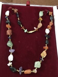 Vintage Multi Natural Gem Stones Amber/ Amethyst Beaded Faceted Matinee Necklace