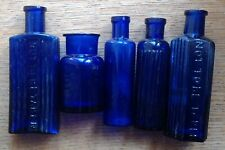 "Five Old Cobalt Blue Glass Poison Bottles, two ""Not to be Taken"" vgc, empty"