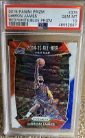2015 PRIZM LEBRON JAMES Red White Blue PSA 10 GEM MINT Hall Of Fame Lakers SP