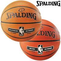 Spalding NBA Platinum & Silver Outdoor Basketballs Size 3 - 7 - FREE UK SHIPPING