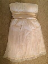Jump Girl Strapless Empire Waist Cocktail Dress sz 9/10 Off white Sheer