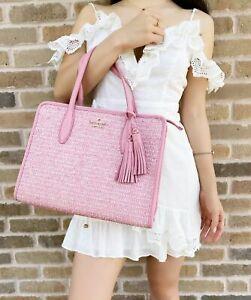 Kate Spade Rowe Summer Tweed Medium Top Zip Eva Satchel Pink Mauve Carnation