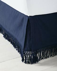 NWT $198 Serena & Lily Macrame Bedskirt - King - Navy Blue Cotton Linen Fringe