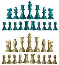 Staunton Triple Weighted Chess Pieces – Set of 34 Aqua & Khaki Gold - 4 Queens